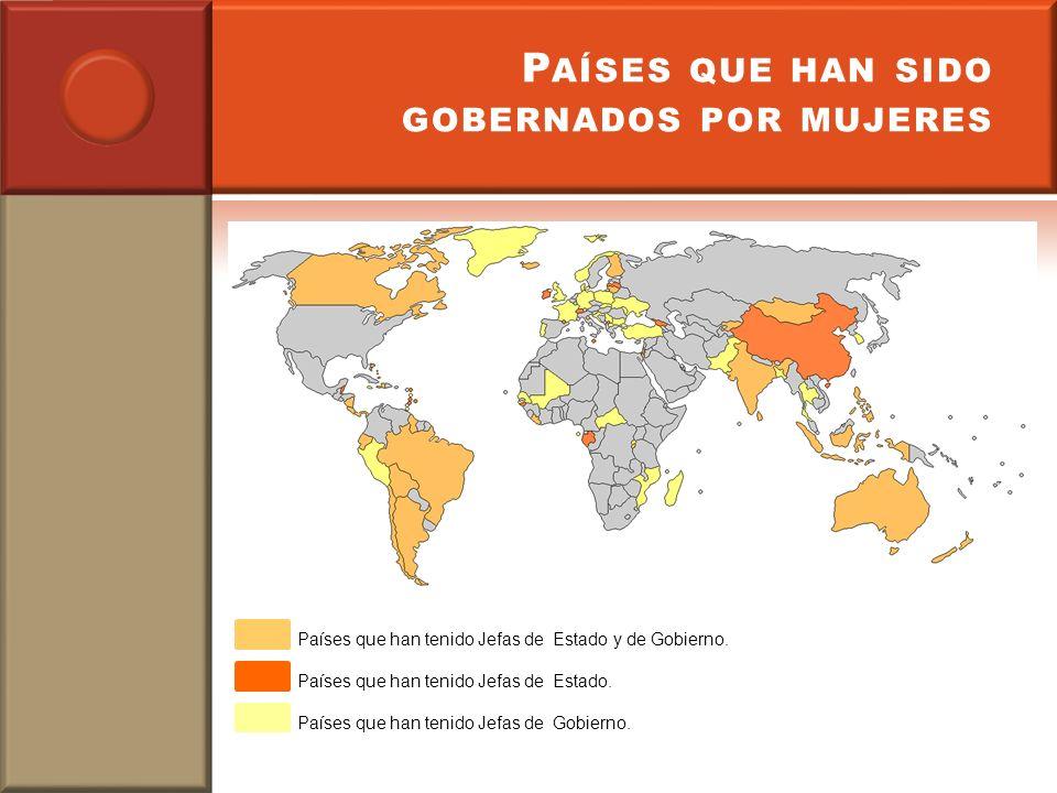 P AÍSES QUE HAN SIDO GOBERNADOS POR MUJERES Países que han tenido Jefas de Estado y de Gobierno. Países que han tenido Jefas de Estado. Países que han