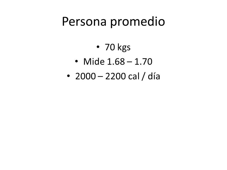 Persona promedio 70 kgs Mide 1.68 – 1.70 2000 – 2200 cal / día