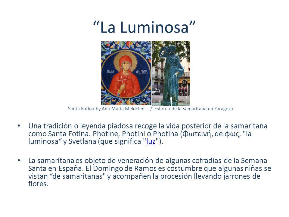 La Luminosa Santa Fotina by Ana María Meldelen / Estatua de la samaritana en Zaragoza Una tradición o leyenda piadosa recoge la vida posterior de la s