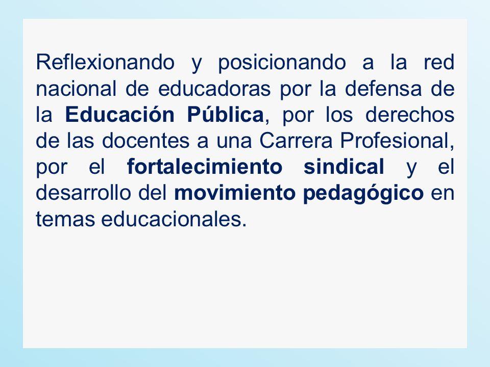 Reflexionando y posicionando a la red nacional de educadoras por la defensa de la Educación Pública, por los derechos de las docentes a una Carrera Pr