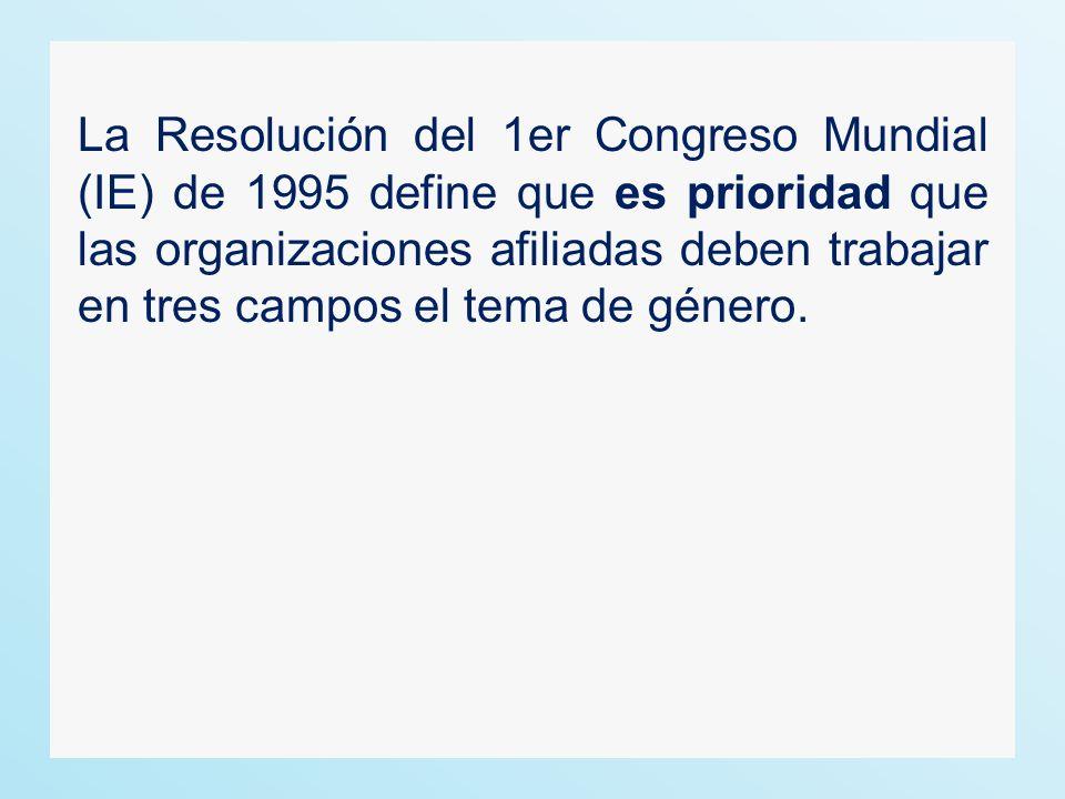 La Resolución del 1er Congreso Mundial (IE) de 1995 define que es prioridad que las organizaciones afiliadas deben trabajar en tres campos el tema de