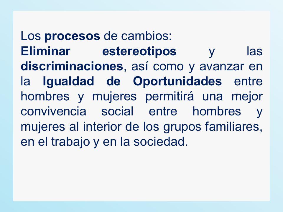 Los procesos de cambios: Eliminar estereotipos y las discriminaciones, así como y avanzar en la Igualdad de Oportunidades entre hombres y mujeres permitirá una mejor convivencia social entre hombres y mujeres al interior de los grupos familiares, en el trabajo y en la sociedad.