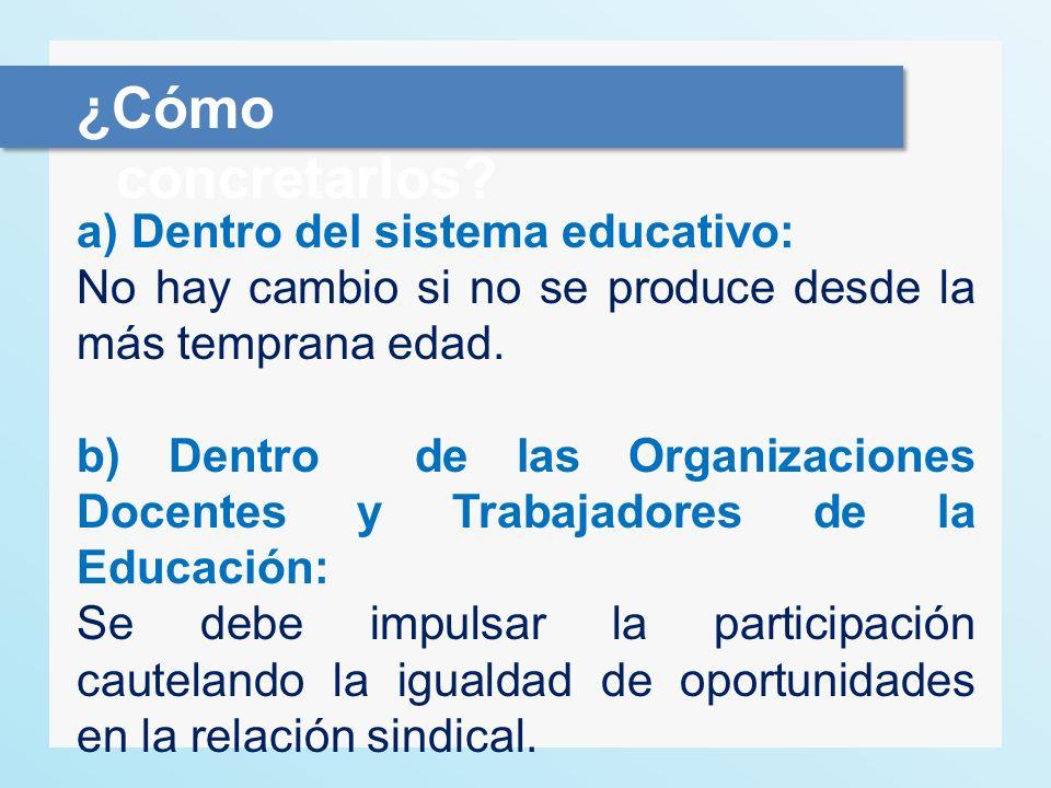 a) Dentro del sistema educativo: No hay cambio si no se produce desde la más temprana edad. b) Dentro de las Organizaciones Docentes y Trabajadores de