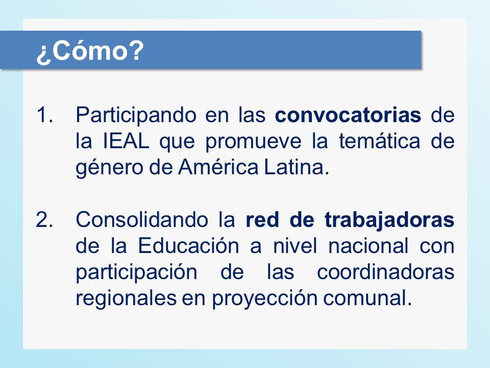 1.Participando en las convocatorias de la IEAL que promueve la temática de género de América Latina. 2.Consolidando la red de trabajadoras de la Educa