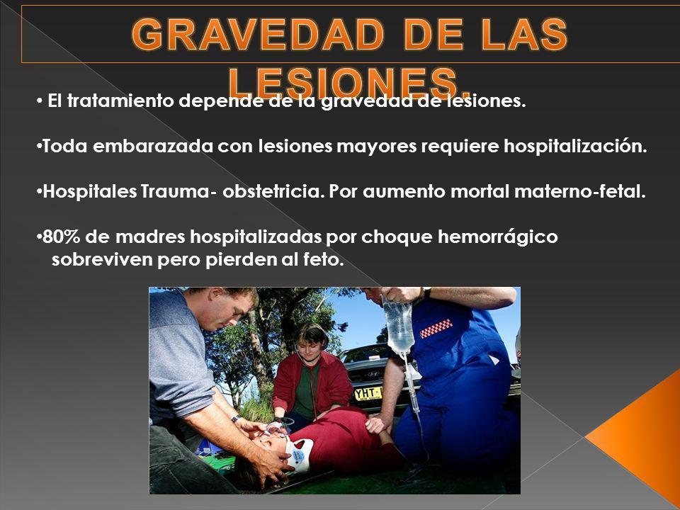 El tratamiento depende de la gravedad de lesiones. Toda embarazada con lesiones mayores requiere hospitalización. Hospitales Trauma- obstetricia. Por