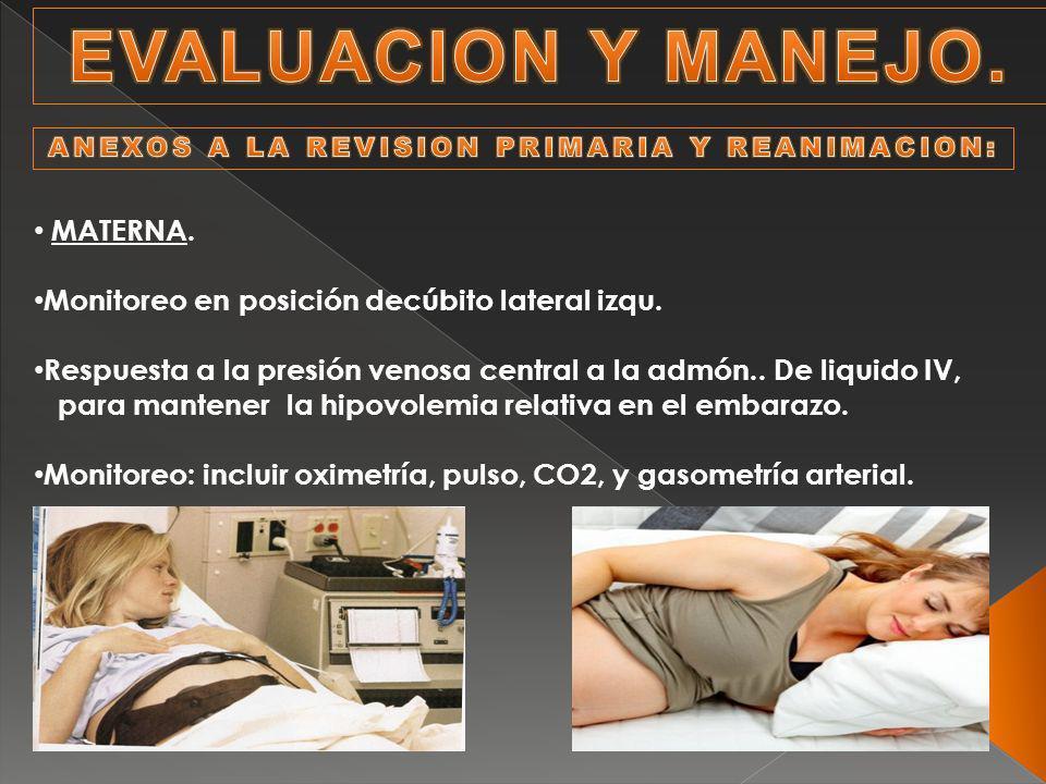 MATERNA. Monitoreo en posición decúbito lateral izqu. Respuesta a la presión venosa central a la admón.. De liquido IV, para mantener la hipovolemia r