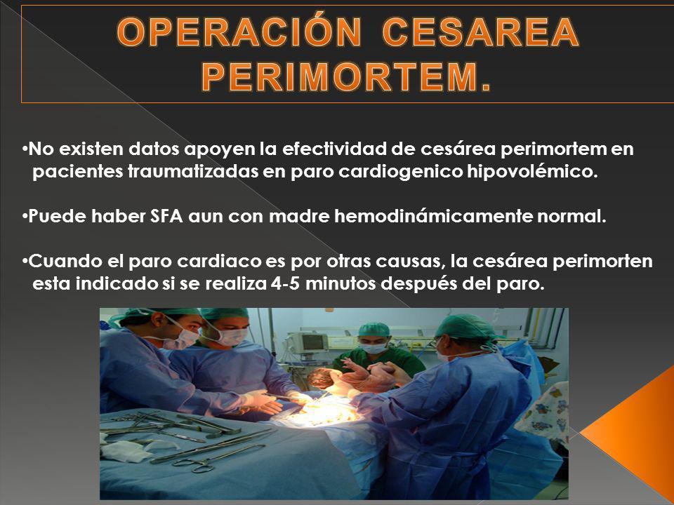 No existen datos apoyen la efectividad de cesárea perimortem en pacientes traumatizadas en paro cardiogenico hipovolémico.