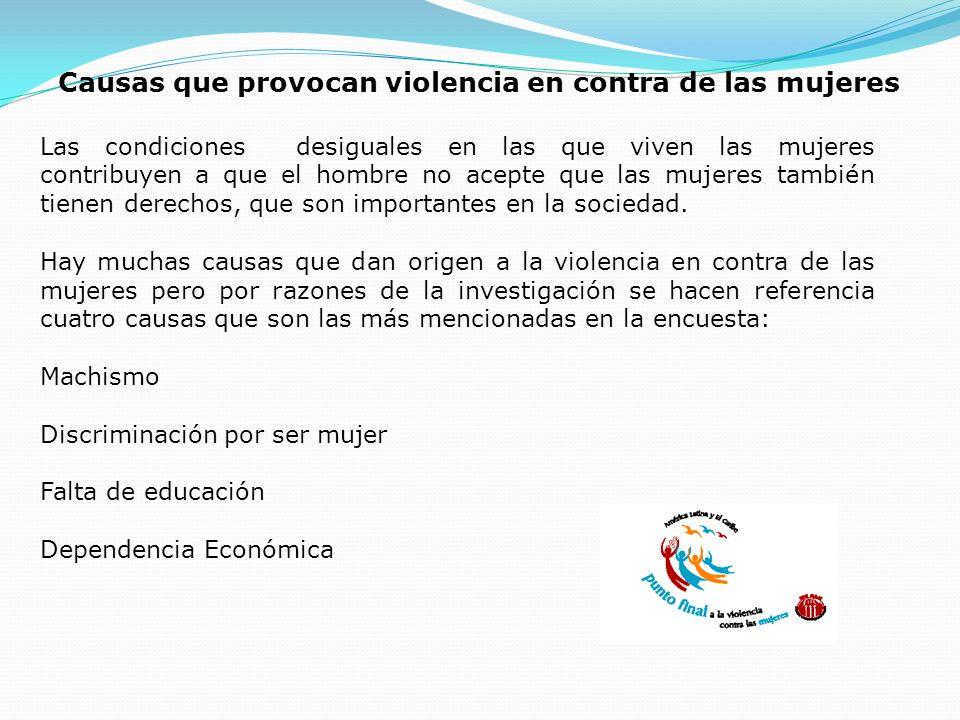Causas que provocan violencia en contra de las mujeres Las condiciones desiguales en las que viven las mujeres contribuyen a que el hombre no acepte q