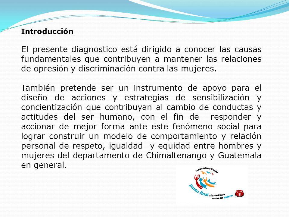Introducción El presente diagnostico está dirigido a conocer las causas fundamentales que contribuyen a mantener las relaciones de opresión y discrimi