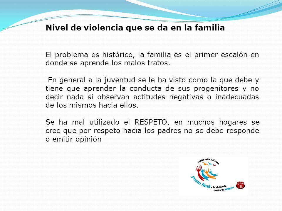 Nivel de violencia que se da en la familia El problema es histórico, la familia es el primer escalón en donde se aprende los malos tratos. En general