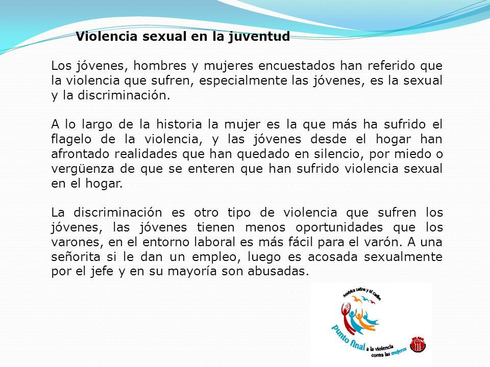 TIPOS Y FORMAS DE VIOLENCIA Física Sexual Emocional o psicológica Patrimonial Económica Discriminación y Racismo Violencia sexual en la juventud Los j