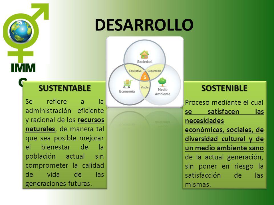 IMM G SUSTENTABLE Se refiere a la administración eficiente y racional de los recursos naturales, de manera tal que sea posible mejorar el bienestar de