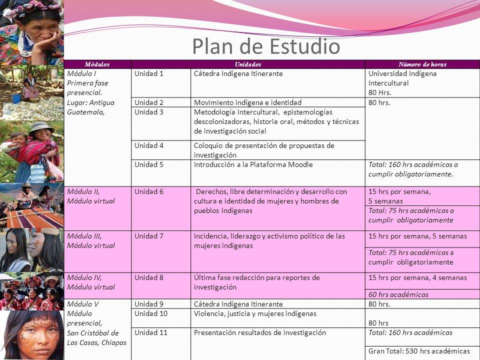 Plan de Estudio MódulosUnidadesNúmero de horas Módulo I Primera fase presencial. Lugar: Antigua Guatemala, Unidad 1Cátedra Indígena ItineranteUniversi