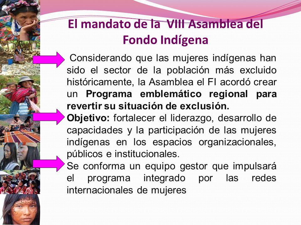 El mandato de la VIII Asamblea del Fondo Indígena Considerando que las mujeres indígenas han sido el sector de la población más excluido históricamente, la Asamblea el FI acordó crear un Programa emblemático regional para revertir su situación de exclusión.