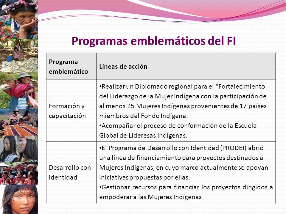Programas emblemáticos del FI Programa emblemático Líneas de acción Formación y capacitación Realizar un Diplomado regional para el Fortalecimiento del Liderazgo de la Mujer Indígena con la participación de al menos 25 Mujeres Indígenas provenientes de 17 países miembros del Fondo Indígena.