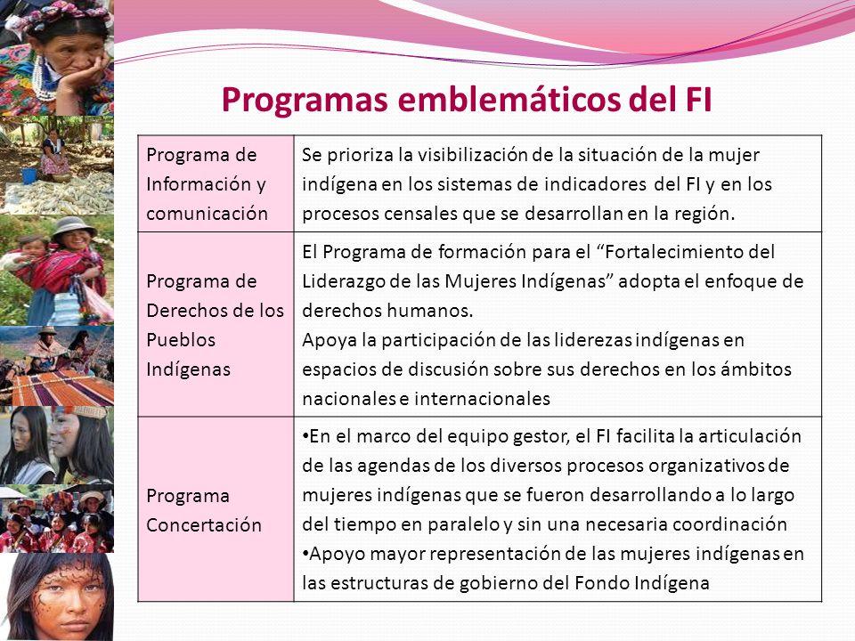 Programas emblemáticos del FI Programa de Información y comunicación Se prioriza la visibilización de la situación de la mujer indígena en los sistemas de indicadores del FI y en los procesos censales que se desarrollan en la región.