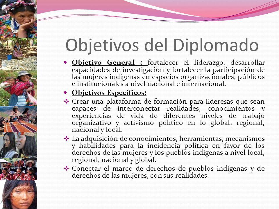 Objetivos del Diplomado Objetivo General : fortalecer el liderazgo, desarrollar capacidades de investigación y fortalecer la participación de las mujeres indígenas en espacios organizacionales, públicos e institucionales a nivel nacional e internacional.