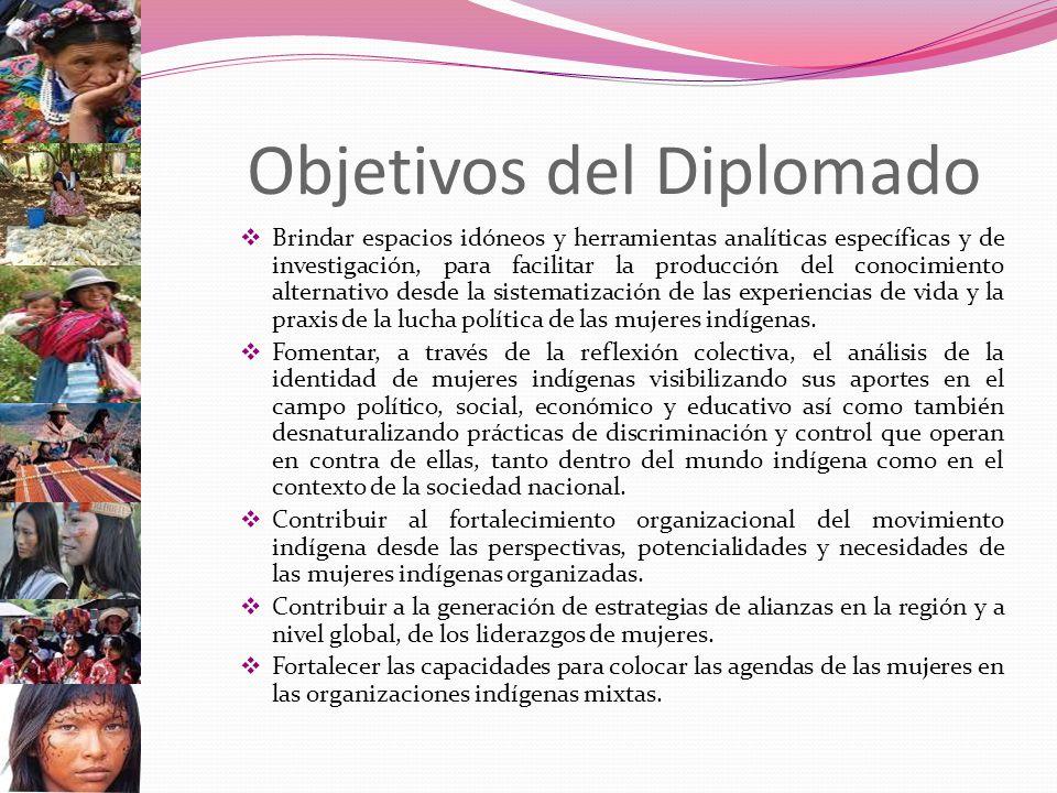 Objetivos del Diplomado Brindar espacios idóneos y herramientas analíticas específicas y de investigación, para facilitar la producción del conocimiento alternativo desde la sistematización de las experiencias de vida y la praxis de la lucha política de las mujeres indígenas.