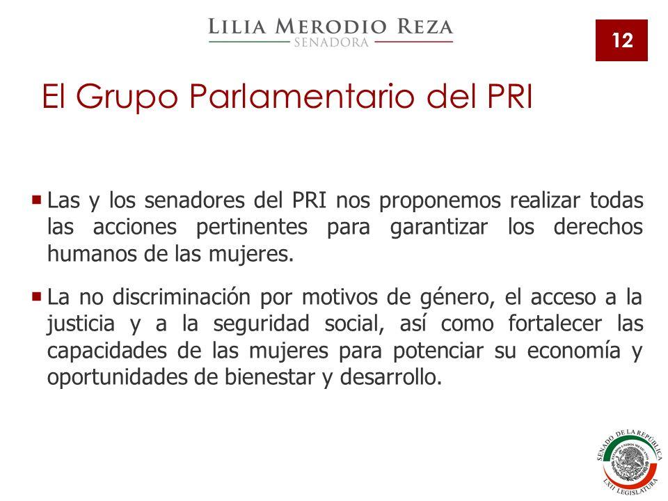 12 Las y los senadores del PRI nos proponemos realizar todas las acciones pertinentes para garantizar los derechos humanos de las mujeres.