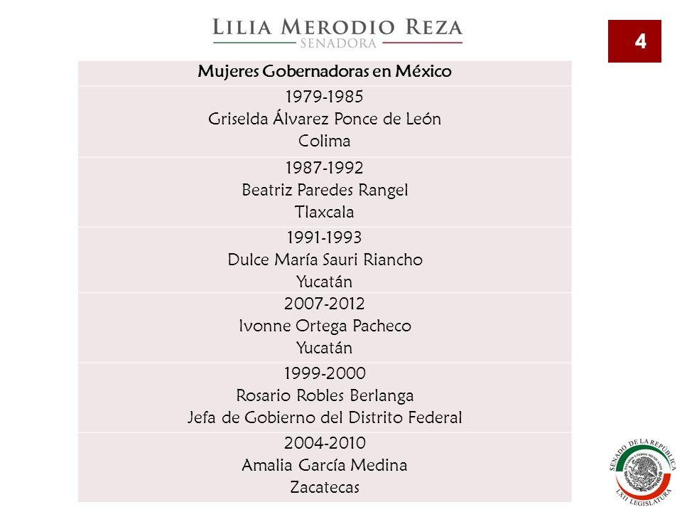 4 Mujeres Gobernadoras en México 1979-1985 Griselda Álvarez Ponce de León Colima 1987-1992 Beatriz Paredes Rangel Tlaxcala 1991-1993 Dulce María Sauri Riancho Yucatán 2007-2012 Ivonne Ortega Pacheco Yucatán 1999-2000 Rosario Robles Berlanga Jefa de Gobierno del Distrito Federal 2004-2010 Amalia García Medina Zacatecas