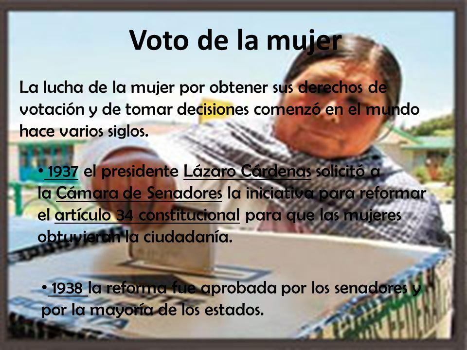 Voto de la mujer La lucha de la mujer por obtener sus derechos de votación y de tomar decisiones comenzó en el mundo hace varios siglos.