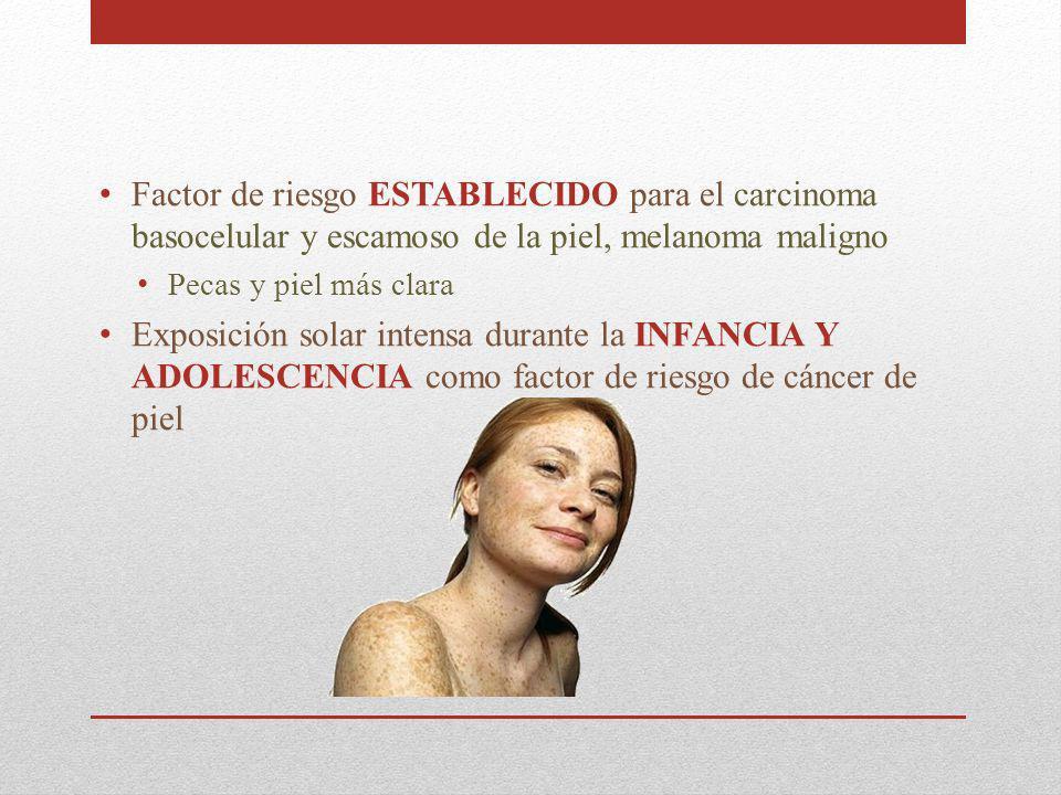 Factor de riesgo ESTABLECIDO para el carcinoma basocelular y escamoso de la piel, melanoma maligno Pecas y piel más clara Exposición solar intensa dur