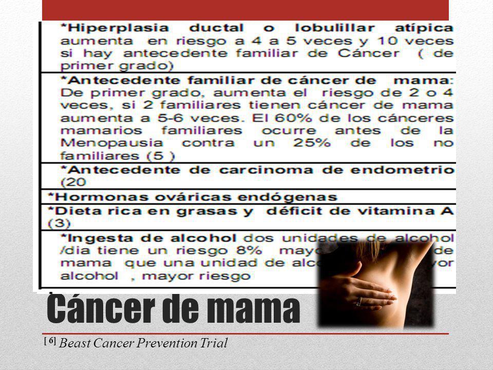 Raloxifeno [7] Disminuye el riesgo de fractura en mujeres pos menopáusicas con osteoporosis Criterio secundario fue la incidencia del CA de mama Después de 40 meses disminuye la incidencia en 74% Inhibidores de la Ciclooxigenasa [8] La COX-2 se encuentra sobre expresada Ibuprofeno a largo plazo disminuye el riesgo de CA en 49% Control de peso Aumento de 5 a 10 Kg aumenta el riesgo de CA mama Prevención secundaria [7] Multiple Outcomes of Raloxifene Evaluation (MORE) [8] Women s Health Initiative