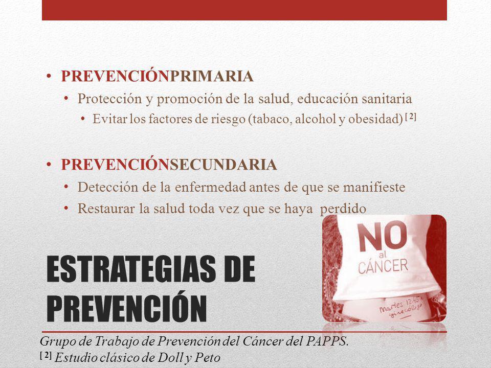 ESTRATEGIAS DE PREVENCIÓN PREVENCIÓNPRIMARIA Protección y promoción de la salud, educación sanitaria Evitar los factores de riesgo (tabaco, alcohol y