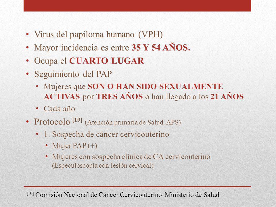 Virus del papiloma humano (VPH) Mayor incidencia es entre 35 Y 54 AÑOS. Ocupa el CUARTO LUGAR Seguimiento del PAP Mujeres que SON O HAN SIDO SEXUALMEN