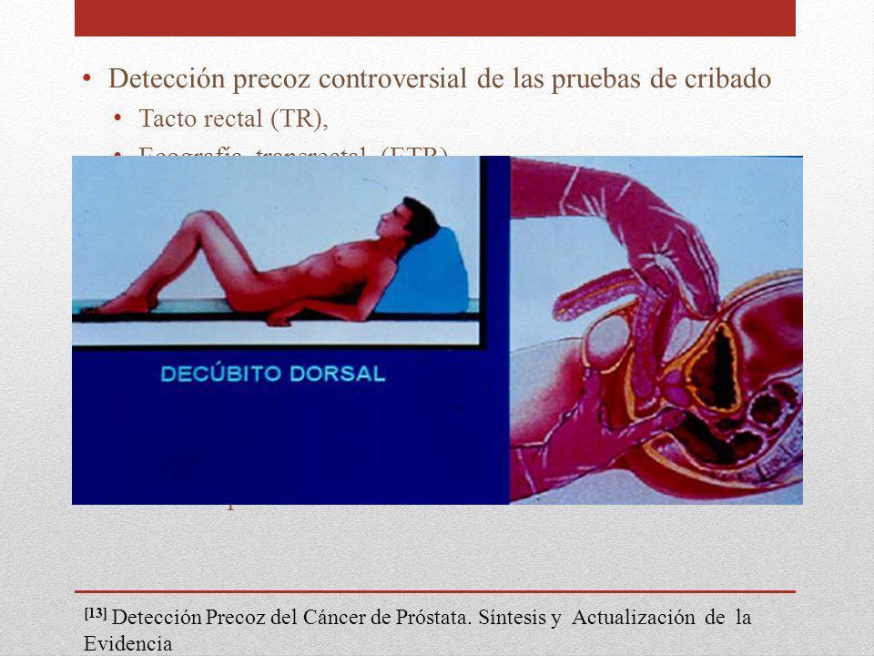 Detección precoz controversial de las pruebas de cribado Tacto rectal (TR), Ecografía transrectal (ETR) Antígeno prostático específico (PSA) Solas CAR