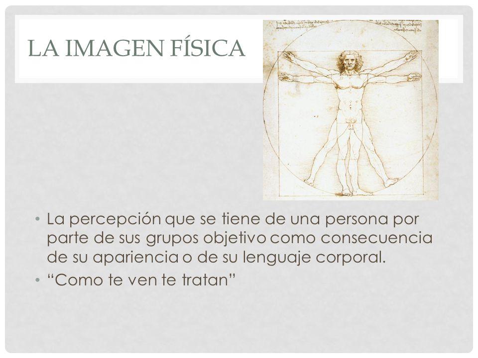 LA IMAGEN FÍSICA La percepción que se tiene de una persona por parte de sus grupos objetivo como consecuencia de su apariencia o de su lenguaje corpor