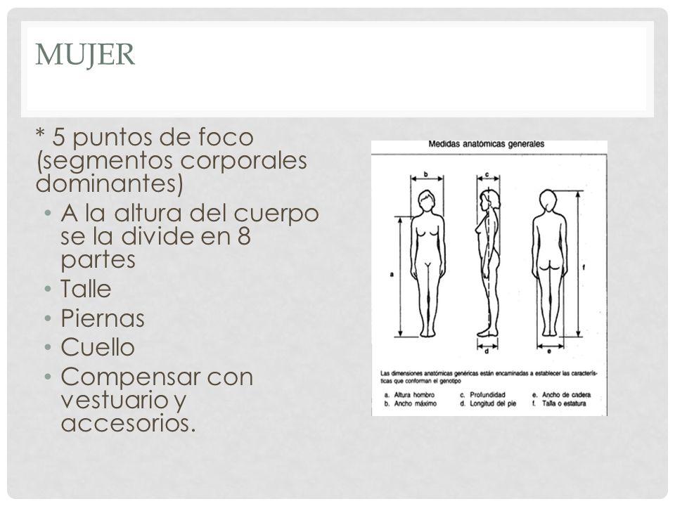 MUJER * 5 puntos de foco (segmentos corporales dominantes) A la altura del cuerpo se la divide en 8 partes Talle Piernas Cuello Compensar con vestuari