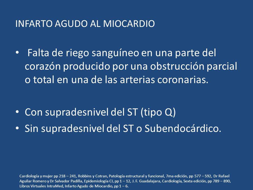 INFARTO AGUDO AL MIOCARDIO Falta de riego sanguíneo en una parte del corazón producido por una obstrucción parcial o total en una de las arterias coro