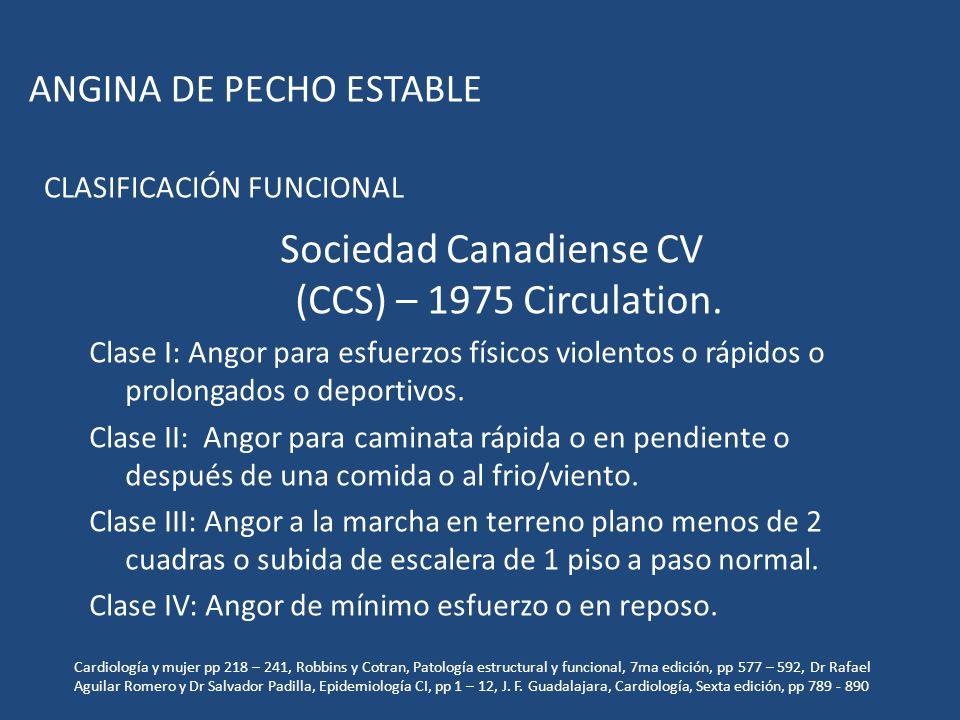 Sociedad Canadiense CV (CCS) – 1975 Circulation. Clase I: Angor para esfuerzos físicos violentos o rápidos o prolongados o deportivos. Clase II: Angor