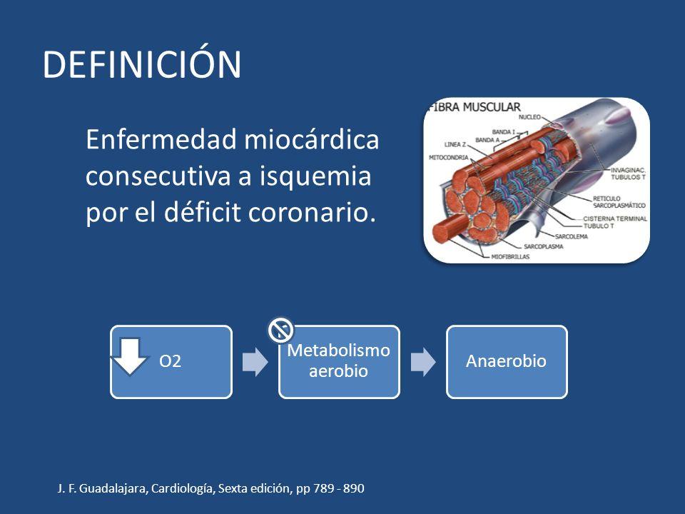 DEFINICIÓN Enfermedad miocárdica consecutiva a isquemia por el déficit coronario. O2 Metabolismo aerobio Anaerobio J. F. Guadalajara, Cardiología, Sex