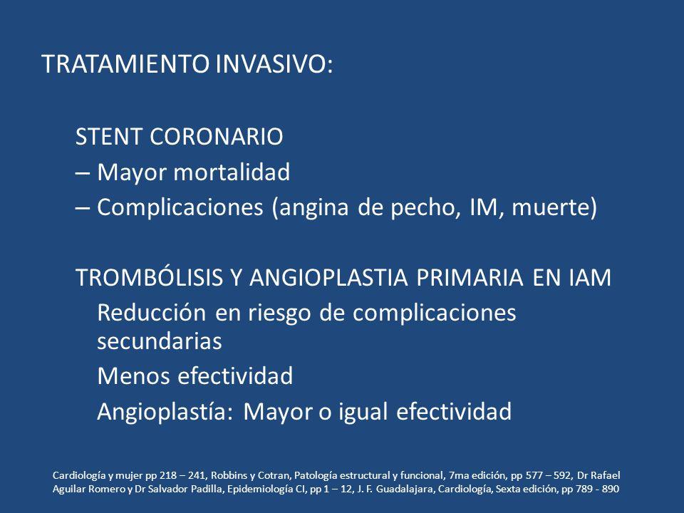 TRATAMIENTO INVASIVO: STENT CORONARIO – Mayor mortalidad – Complicaciones (angina de pecho, IM, muerte) TROMBÓLISIS Y ANGIOPLASTIA PRIMARIA EN IAM Red