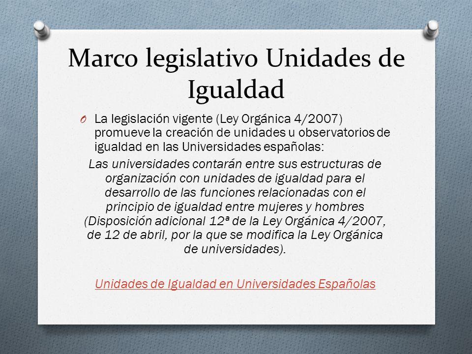 Marco legislativo Unidades de Igualdad O La legislación vigente (Ley Orgánica 4/2007) promueve la creación de unidades u observatorios de igualdad en