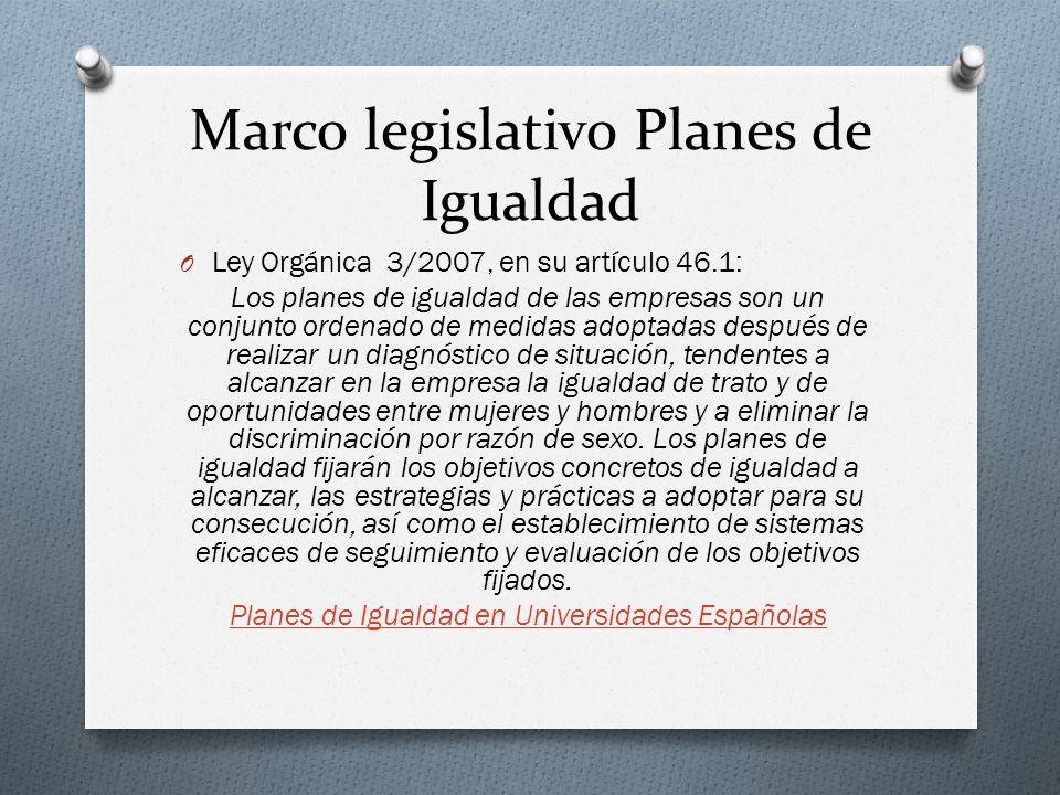 Marco legislativo Planes de Igualdad O Ley Orgánica 3/2007, en su artículo 46.1: Los planes de igualdad de las empresas son un conjunto ordenado de me