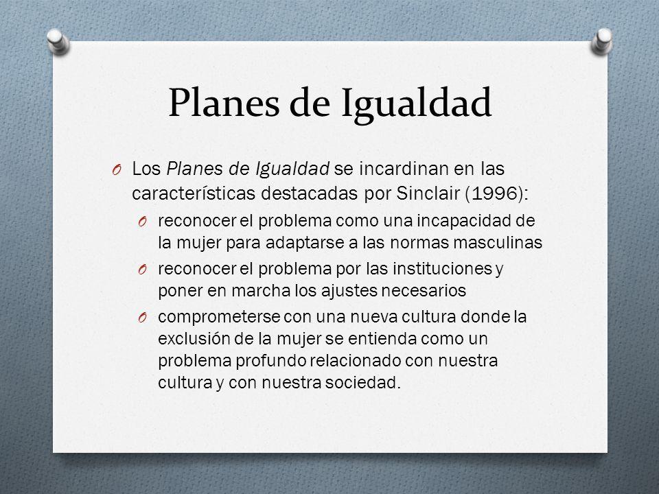 Planes de Igualdad O Los Planes de Igualdad se incardinan en las características destacadas por Sinclair (1996): O reconocer el problema como una inca