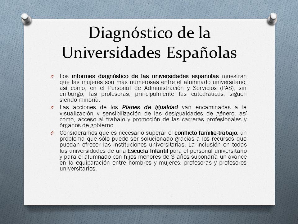 Diagnóstico de la Universidades Españolas O Los informes diagnóstico de las universidades españolas muestran que las mujeres son más numerosas entre e