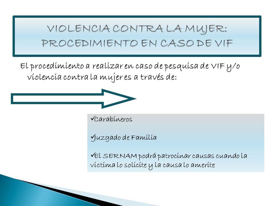 El procedimiento a realizar en caso de pesquisa de VIF y/o violencia contra la mujer es a través de: Carabineros Juzgado de Familia El SERNAM podrá pa