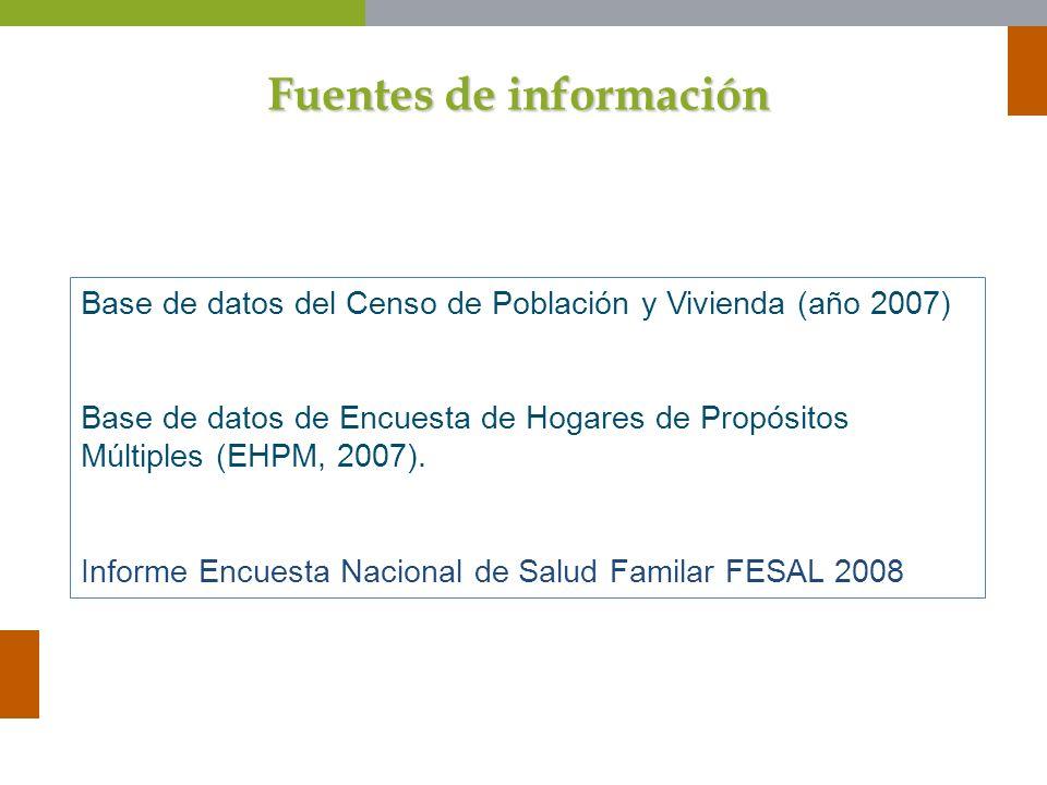 Fuentes de información Base de datos del Censo de Población y Vivienda (año 2007) Base de datos de Encuesta de Hogares de Propósitos Múltiples (EHPM,