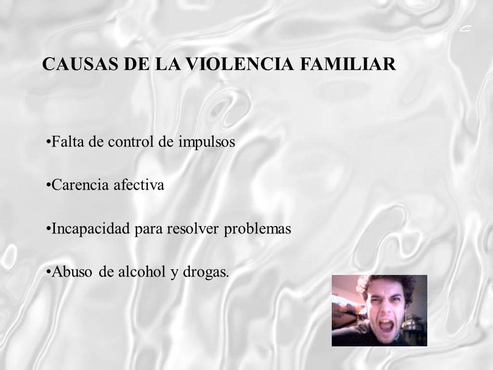 Falta de control de impulsos Carencia afectiva Incapacidad para resolver problemas Abuso de alcohol y drogas. CAUSAS DE LA VIOLENCIA FAMILIAR