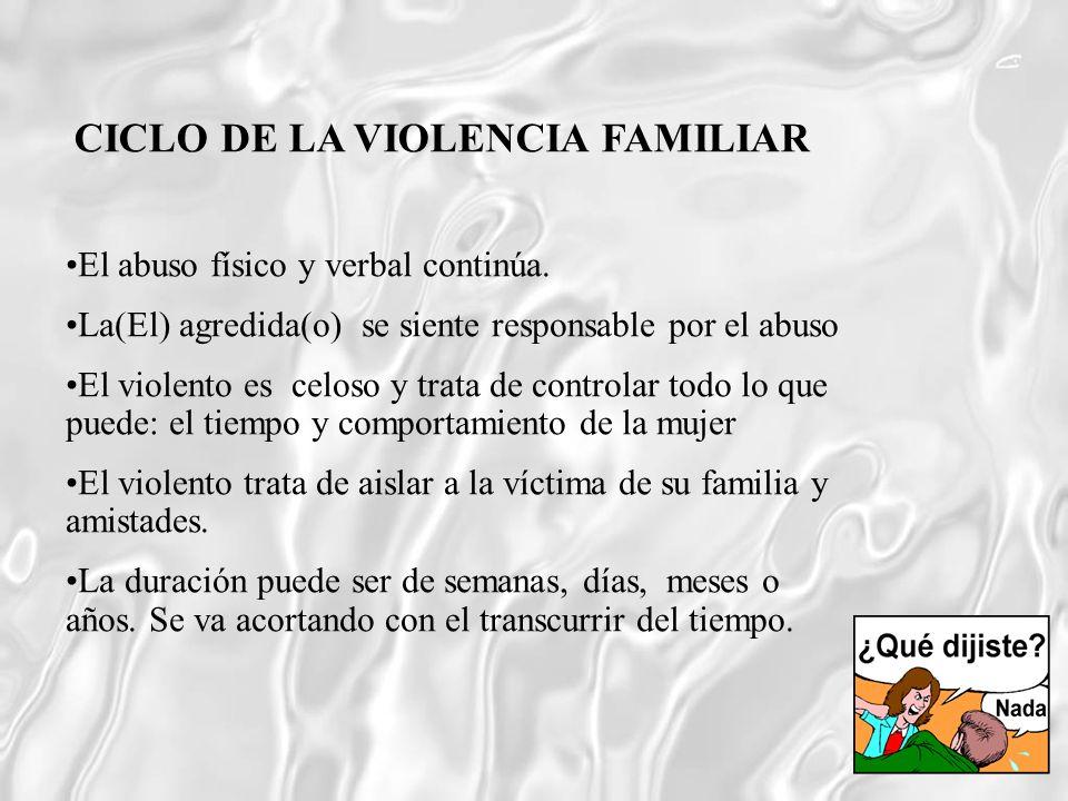 El abuso físico y verbal continúa. La(El) agredida(o) se siente responsable por el abuso El violento es celoso y trata de controlar todo lo que puede: