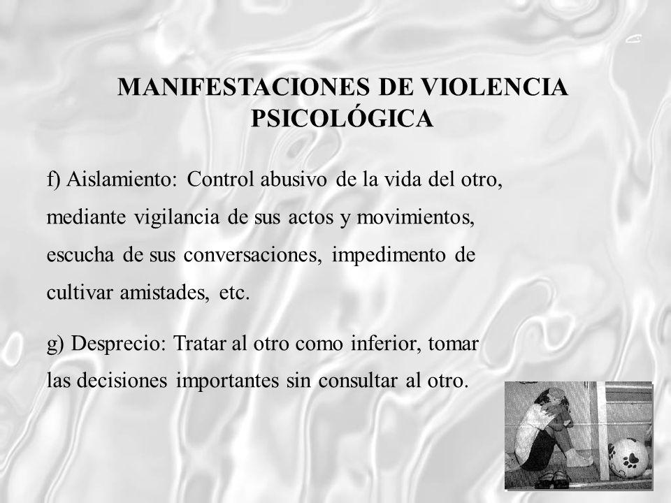 f) Aislamiento: Control abusivo de la vida del otro, mediante vigilancia de sus actos y movimientos, escucha de sus conversaciones, impedimento de cul
