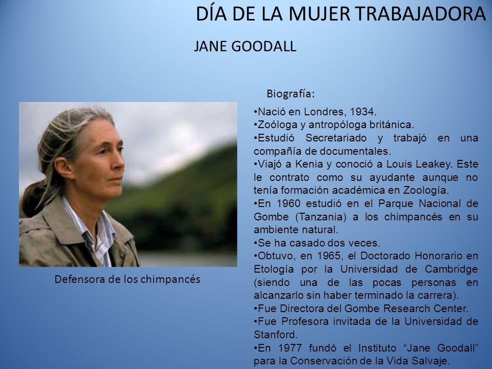 DÍA DE LA MUJER TRABAJADORA JANE GOODALL Defensora de los chimpancés Biografía: Nació en Londres, 1934. Zoóloga y antropóloga británica. Estudió Secre