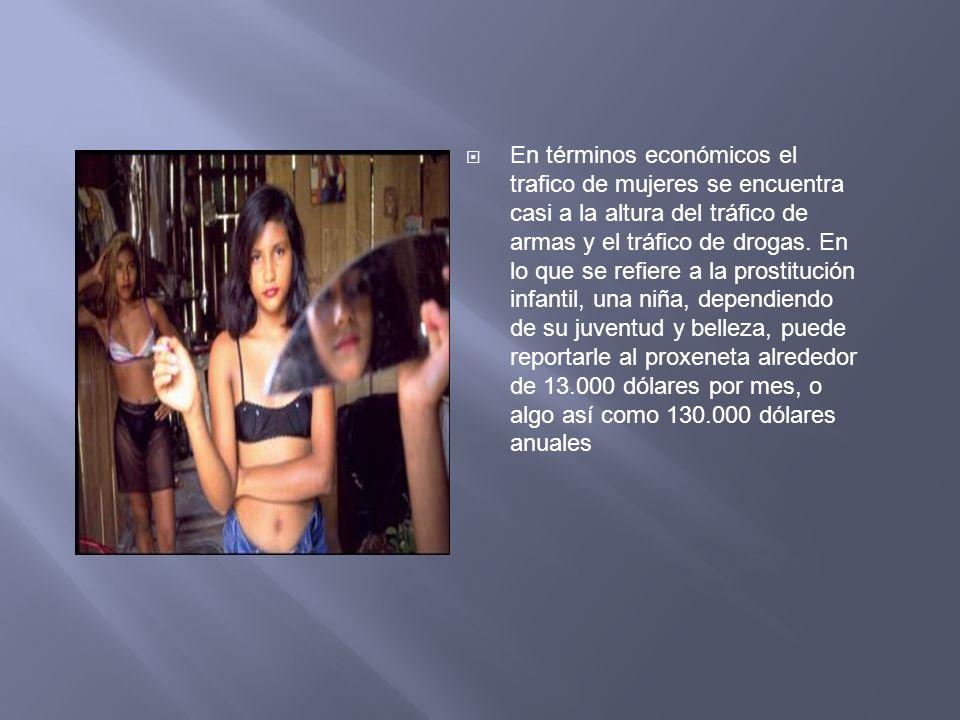 En términos económicos el trafico de mujeres se encuentra casi a la altura del tráfico de armas y el tráfico de drogas. En lo que se refiere a la pros
