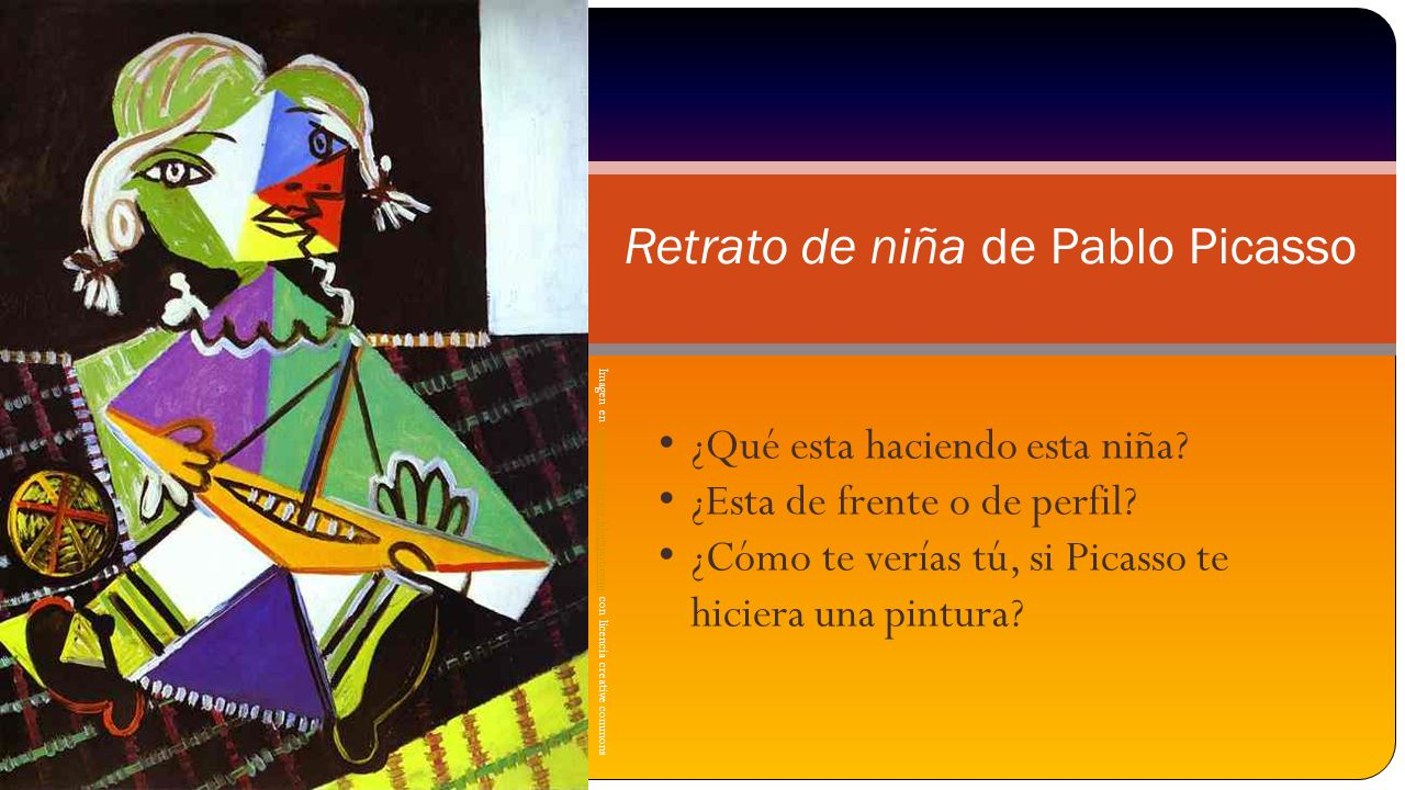 Imagen en plasticamariarios.blogspot.com con licencia creative commonsplasticamariarios.blogspot.com Retrato de niña de Pablo Picasso ¿Qué esta hacien