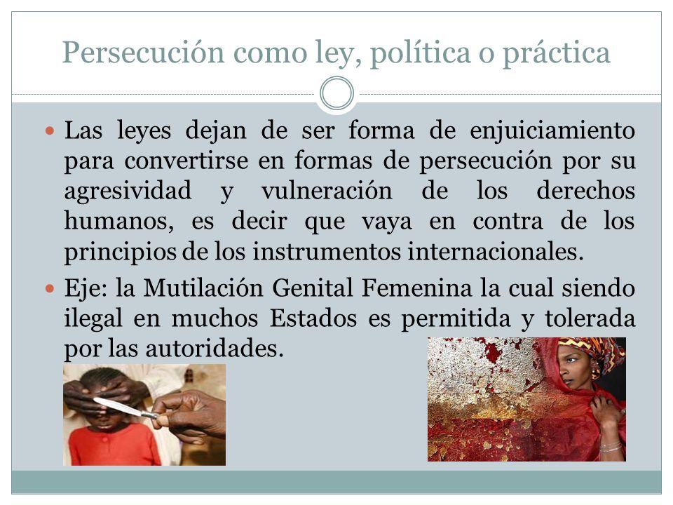 Persecución como ley, política o práctica Las leyes dejan de ser forma de enjuiciamiento para convertirse en formas de persecución por su agresividad y vulneración de los derechos humanos, es decir que vaya en contra de los principios de los instrumentos internacionales.