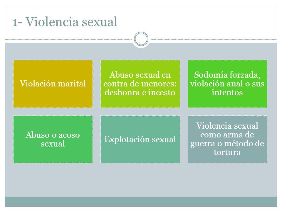 1- Violencia sexual Violación marital Abuso sexual en contra de menores: deshonra e incesto Sodomía forzada, violación anal o sus intentos Abuso o acoso sexual Explotación sexual Violencia sexual como arma de guerra o método de tortura